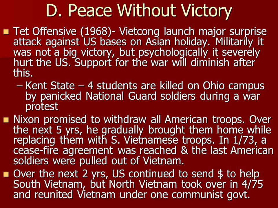 D. Peace Without Victory