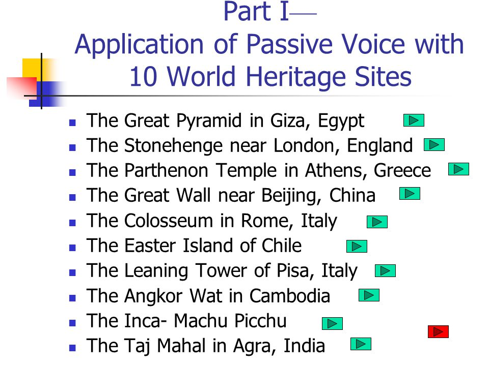 Part I— Application of Passive Voice with 10 World Heritage Sites