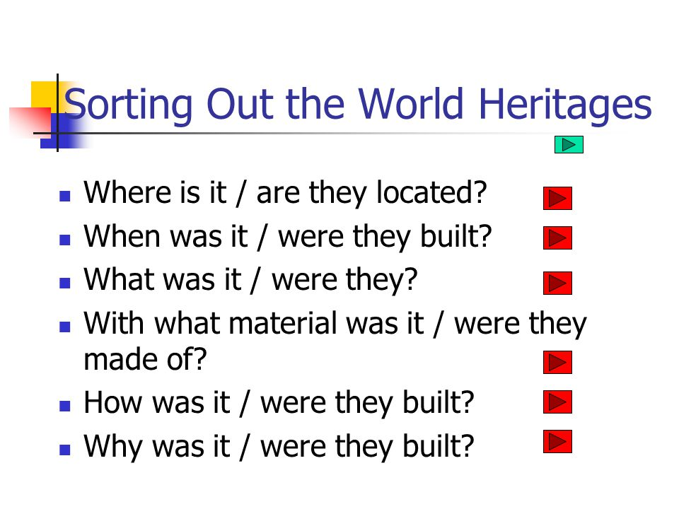 Sorting Out the World Heritages