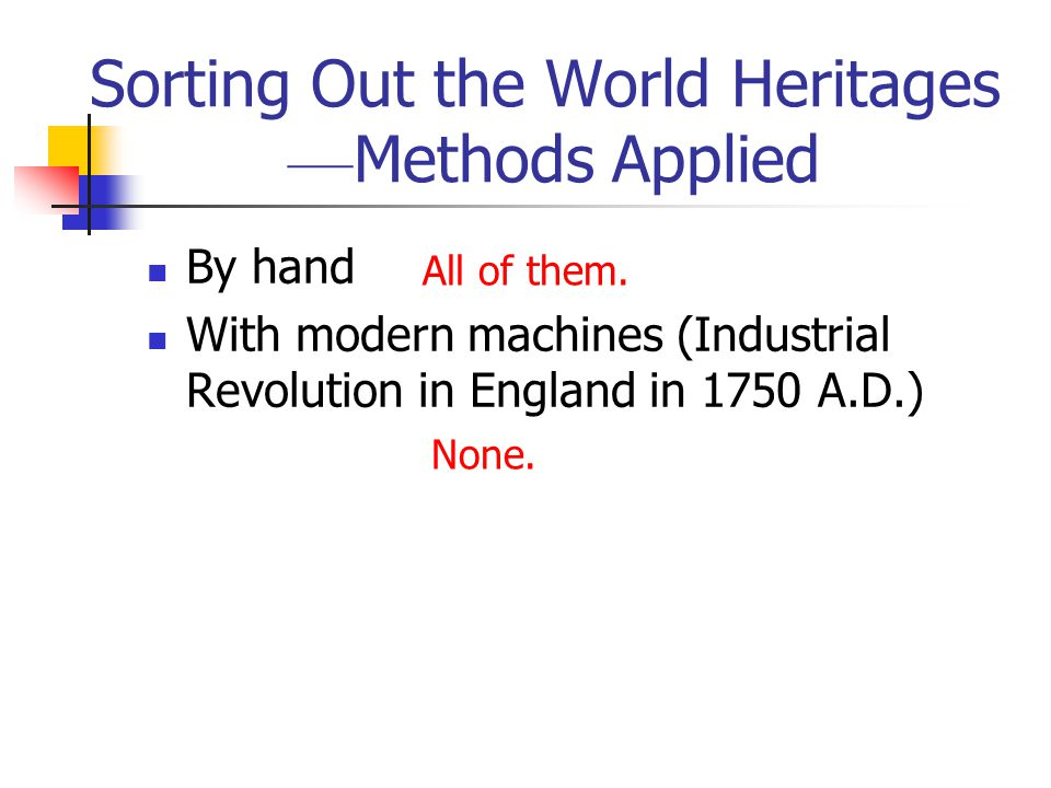 Sorting Out the World Heritages ––Methods Applied