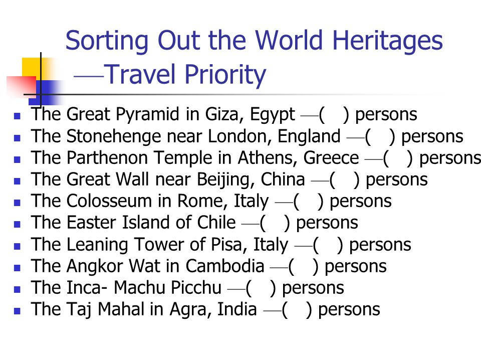 Sorting Out the World Heritages ––Travel Priority