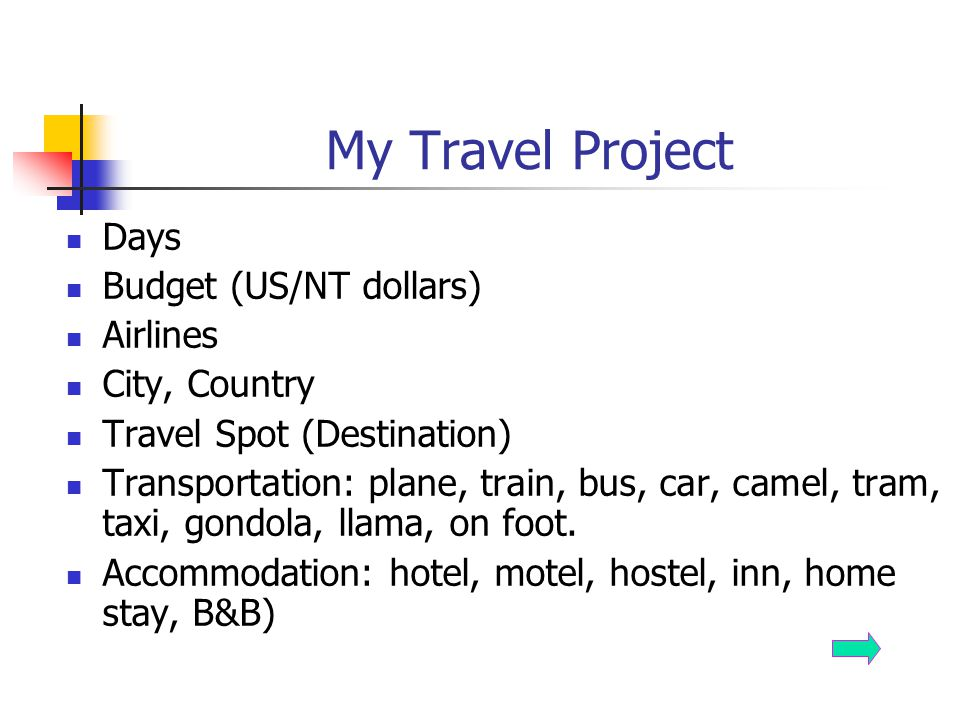 My Travel Project Days Budget (US/NT dollars) Airlines City, Country
