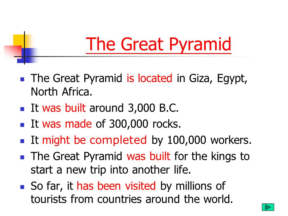 The Great Pyramid The Great Pyramid is located in Giza, Egypt, North Africa. It was built around 3,000 B.C.
