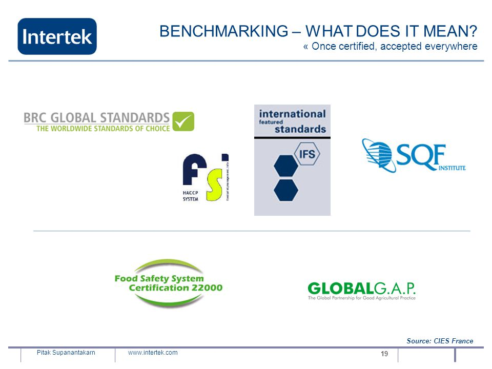 BENCHMARKING – WHAT DOES IT MEAN « Once certified, accepted everywhere