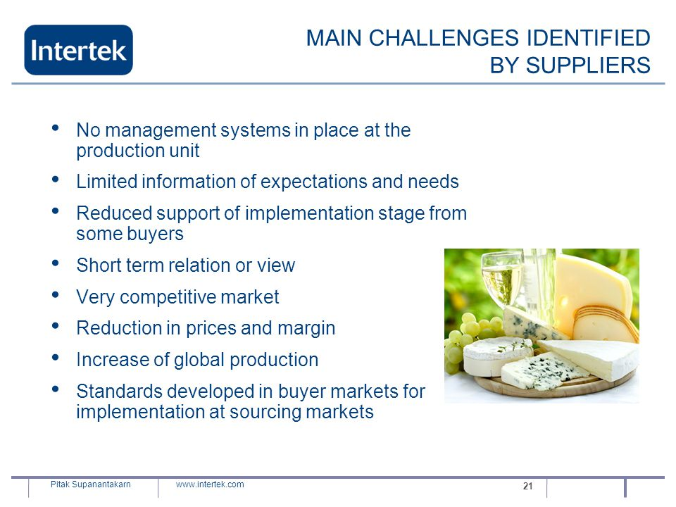 MAIN CHALLENGES IDENTIFIED BY SUPPLIERS