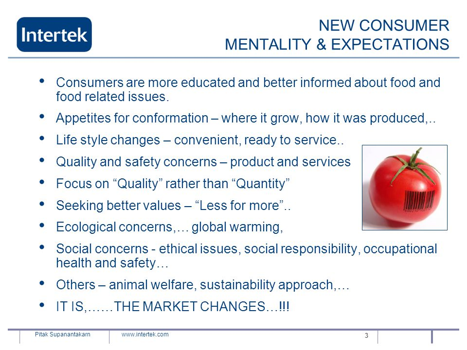 NEW CONSUMER MENTALITY & EXPECTATIONS