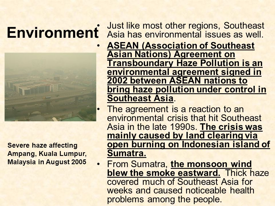 Environment Just like most other regions, Southeast Asia has environmental issues as well.