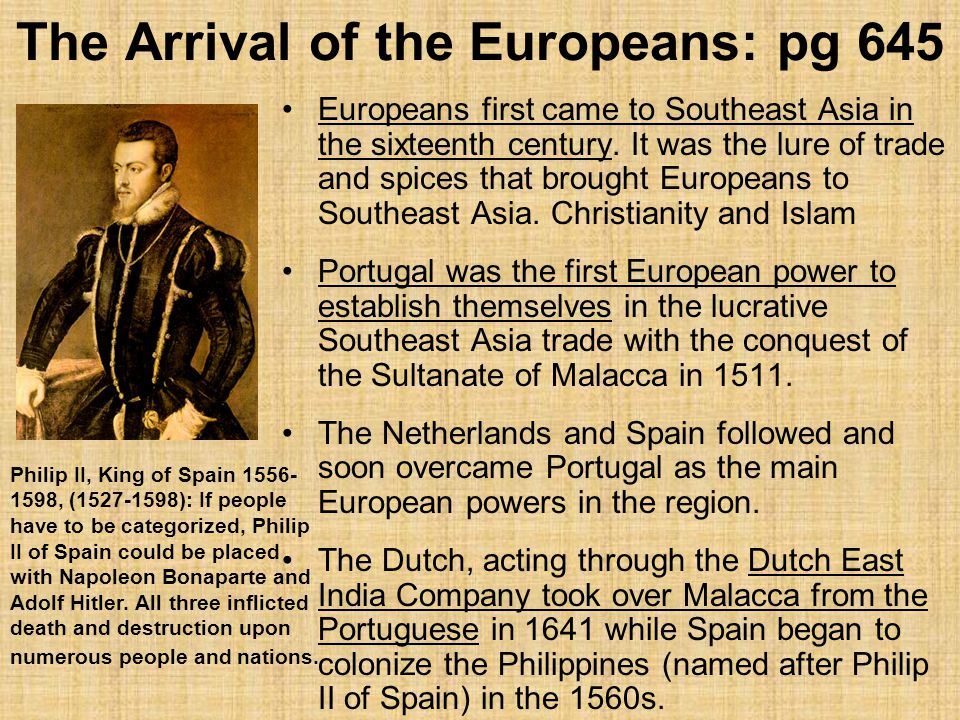 The Arrival of the Europeans: pg 645