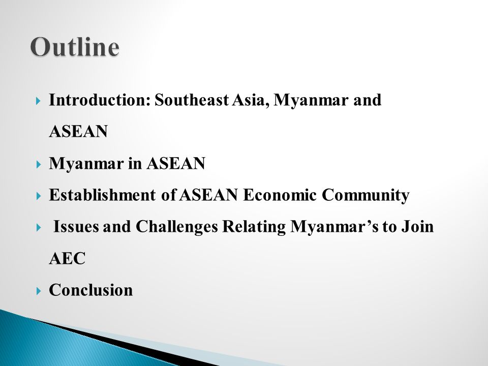 Outline Introduction: Southeast Asia, Myanmar and ASEAN