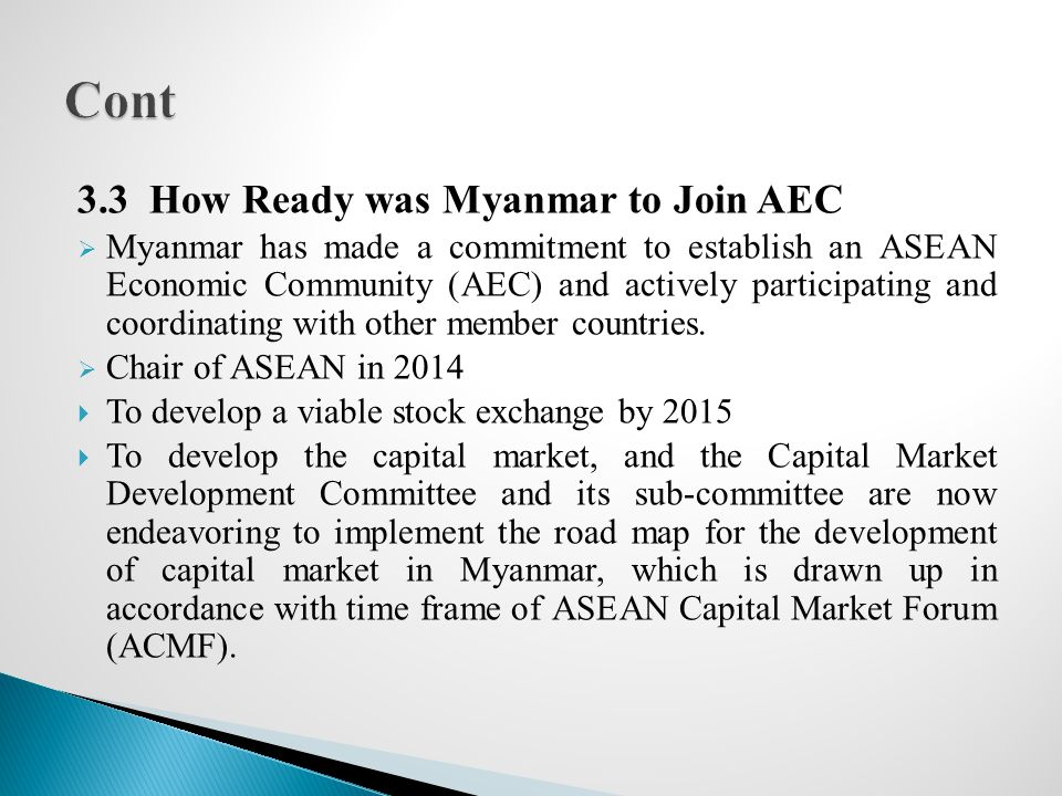 Cont 3.3 How Ready was Myanmar to Join AEC