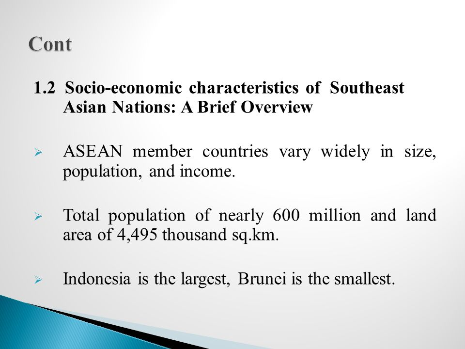 Cont 1.2 Socio-economic characteristics of Southeast Asian Nations: A Brief Overview.