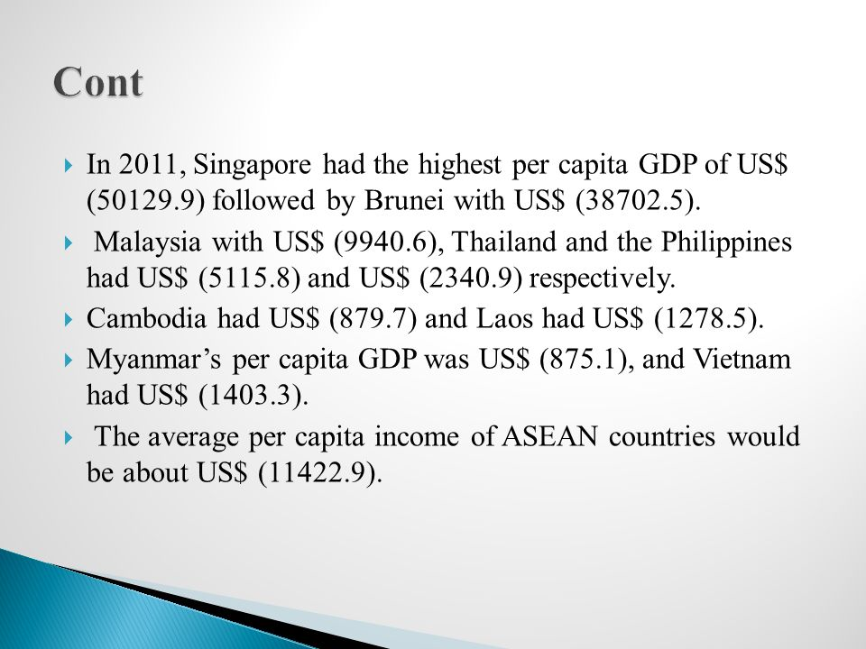 Cont In 2011, Singapore had the highest per capita GDP of US$ (50129.9) followed by Brunei with US$ (38702.5).