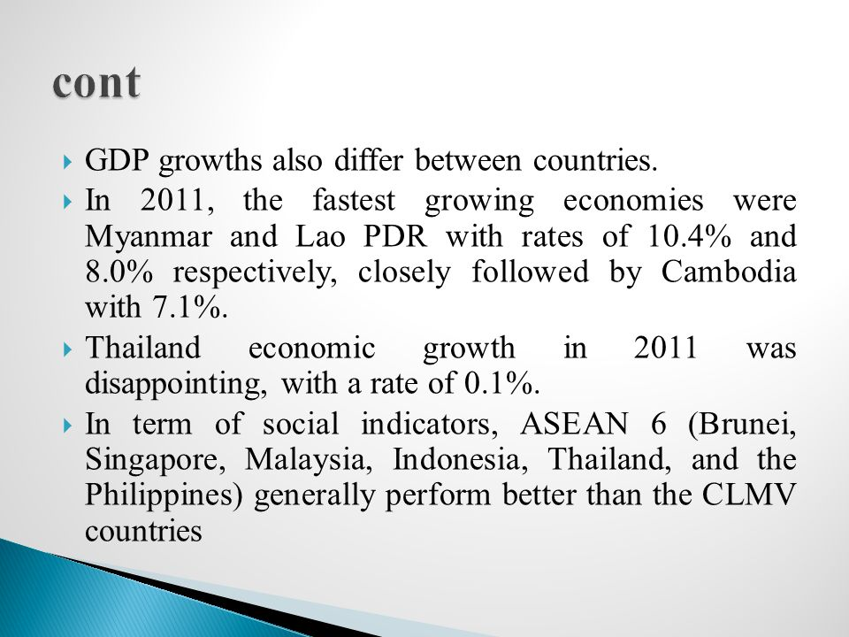 cont GDP growths also differ between countries.