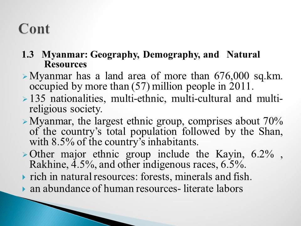 Cont 1.3 Myanmar: Geography, Demography, and Natural Resources.