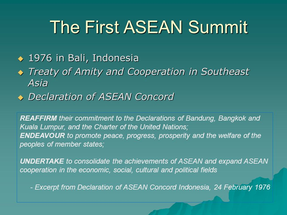 The First ASEAN Summit 1976 in Bali, Indonesia