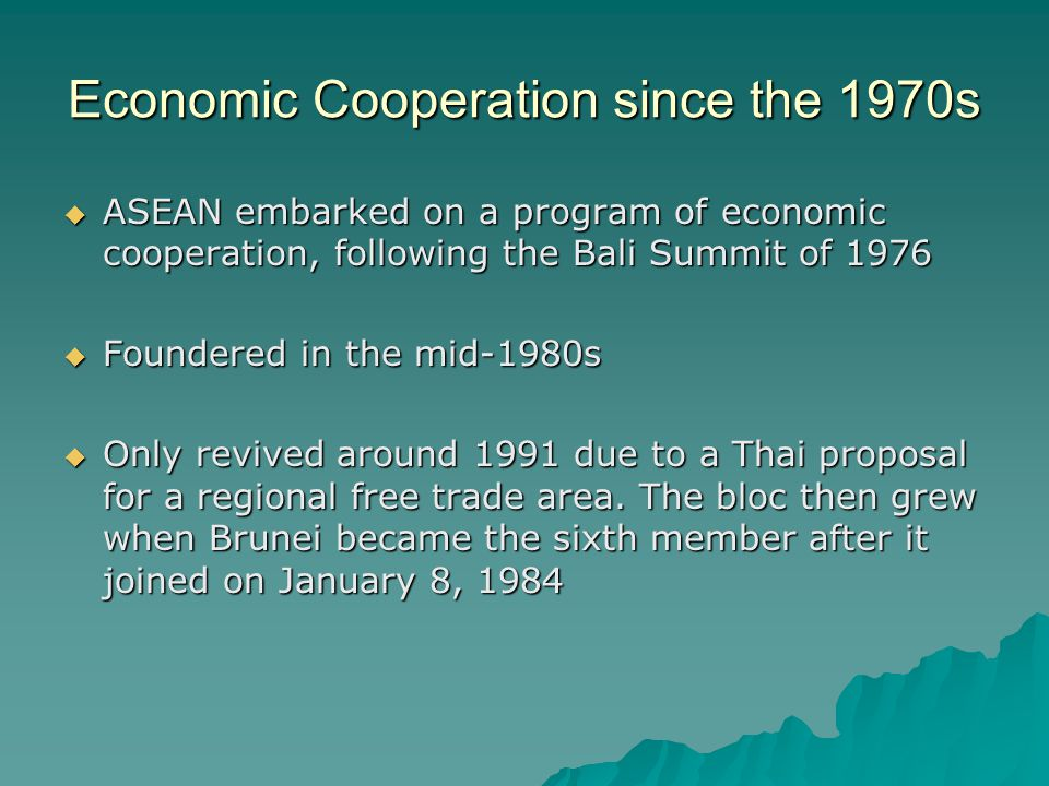 Economic Cooperation since the 1970s