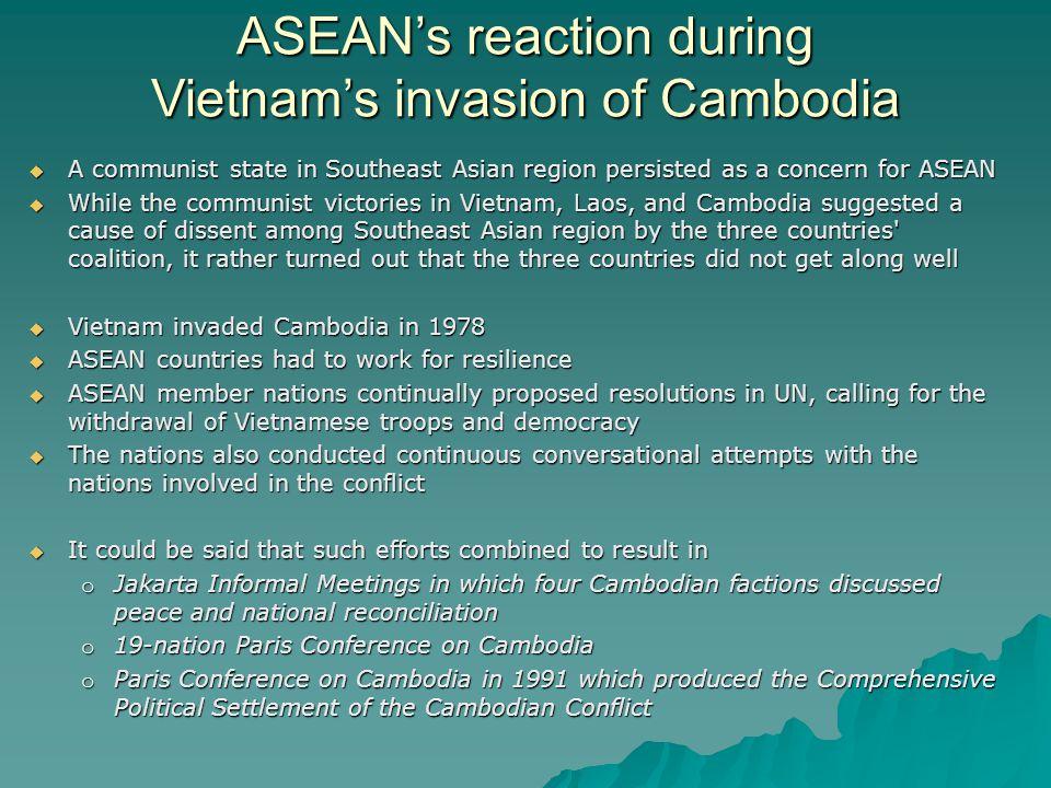 ASEAN's reaction during Vietnam's invasion of Cambodia