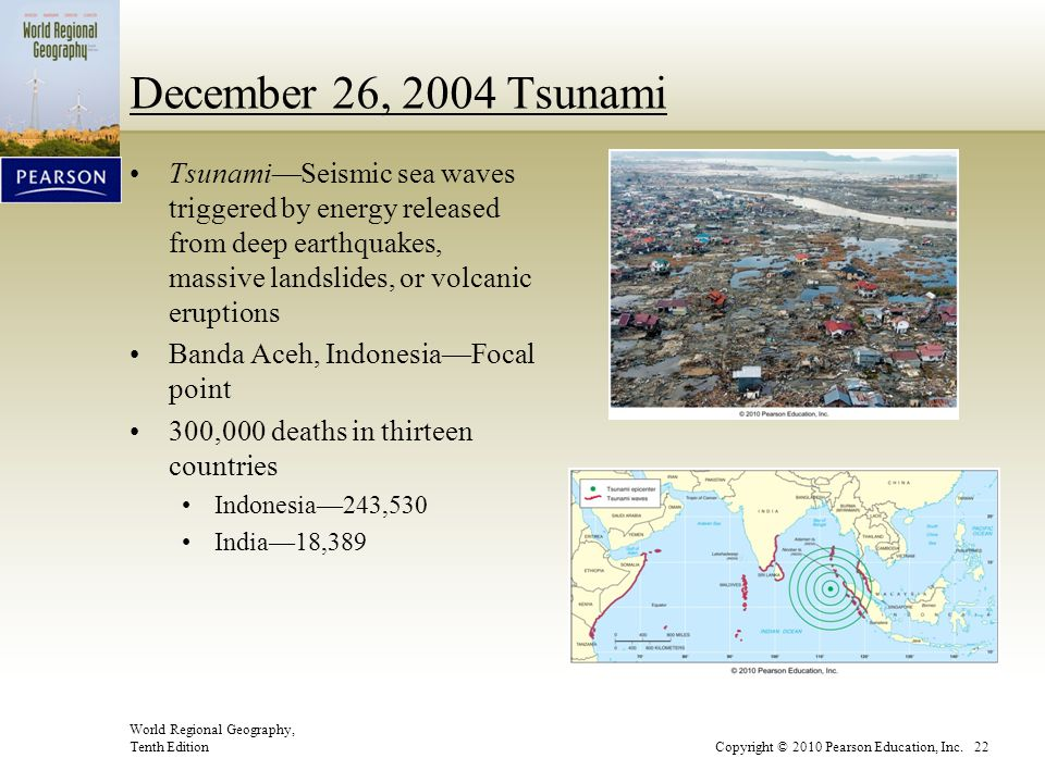 December 26, 2004 Tsunami Tsunami—Seismic sea waves triggered by energy released from deep earthquakes, massive landslides, or volcanic eruptions.