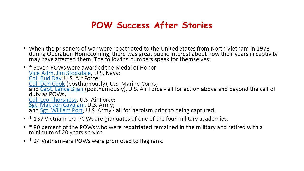 POW Success After Stories