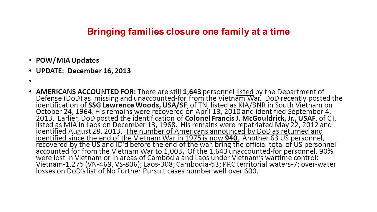 Bringing families closure one family at a time