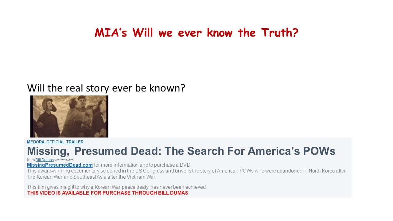 MIA's Will we ever know the Truth