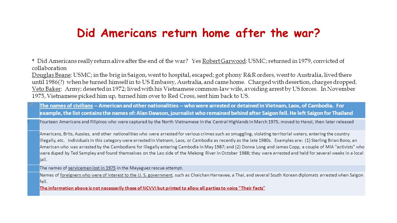 Did Americans return home after the war