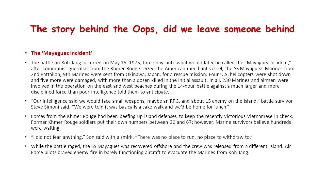 The story behind the Oops, did we leave someone behind