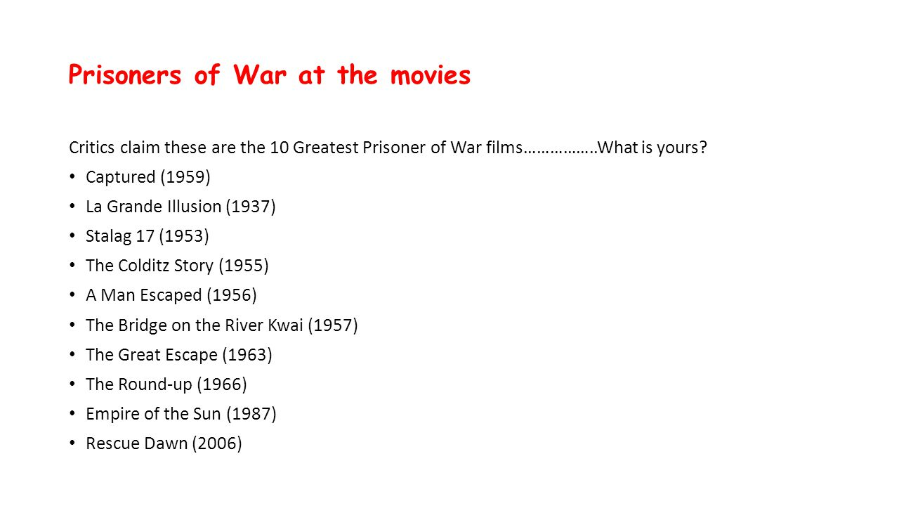 Prisoners of War at the movies