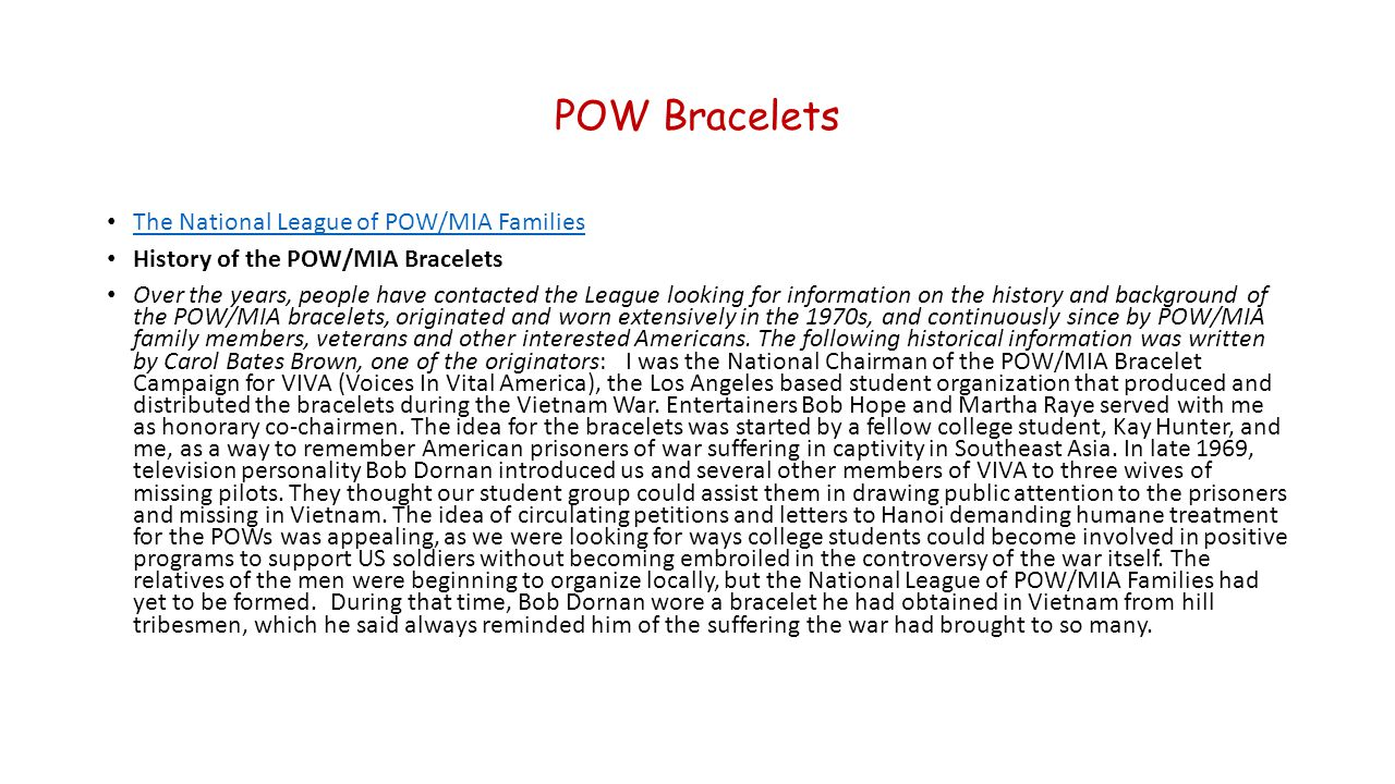 POW Bracelets The National League of POW/MIA Families