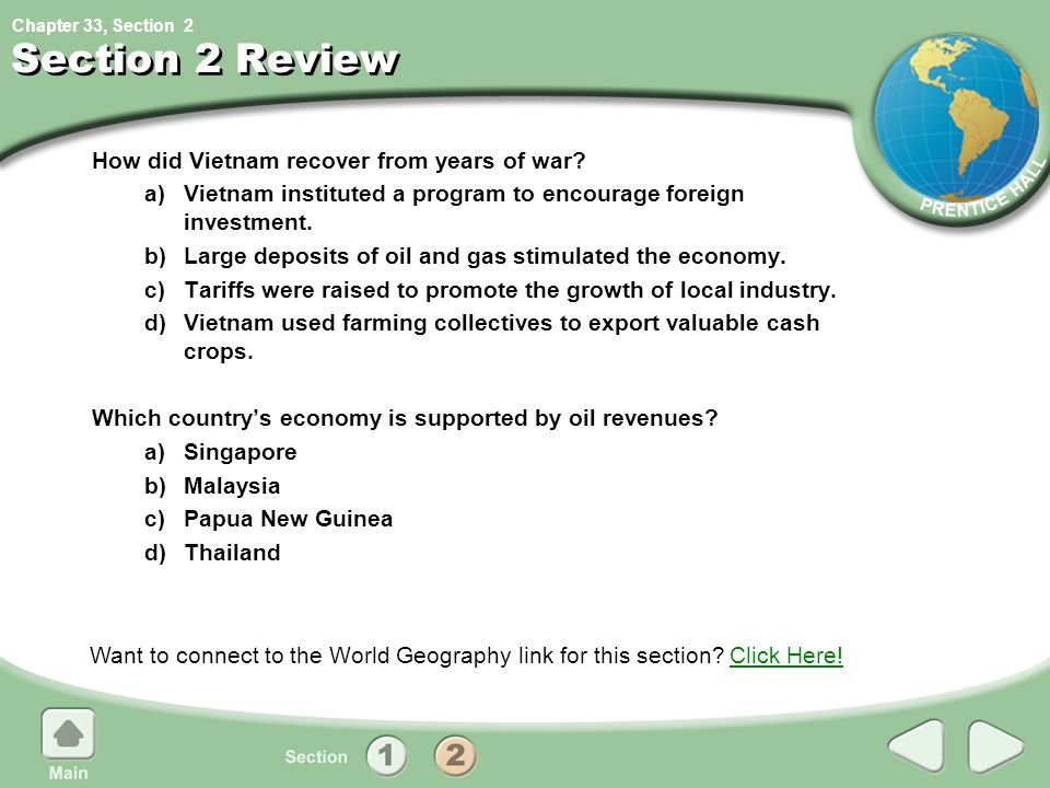 Section 2 Review How did Vietnam recover from years of war