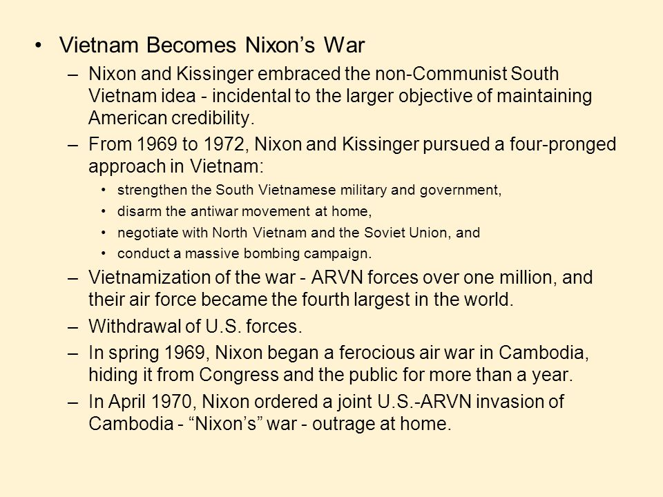 Vietnam Becomes Nixon's War