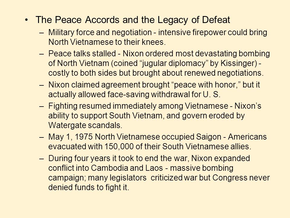 The Peace Accords and the Legacy of Defeat