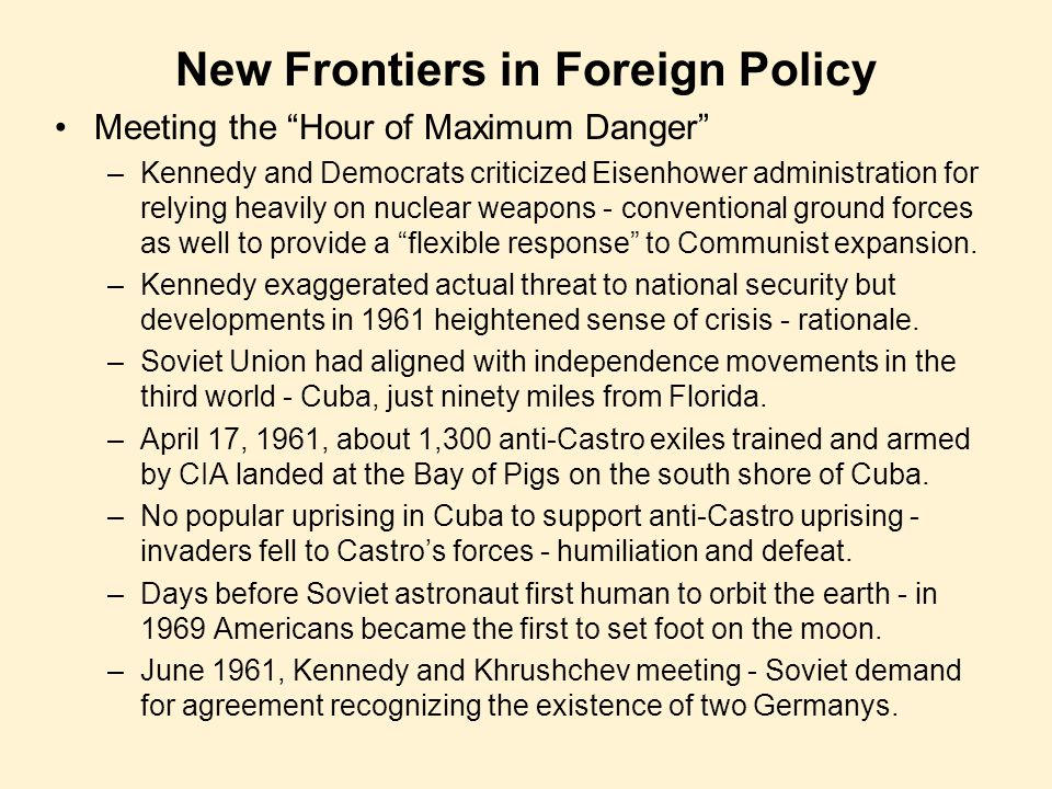 New Frontiers in Foreign Policy
