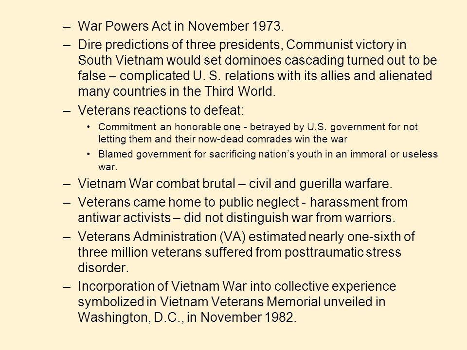War Powers Act in November 1973.