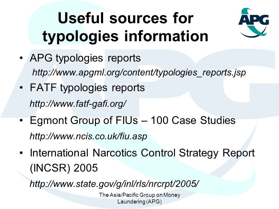 Useful sources for typologies information