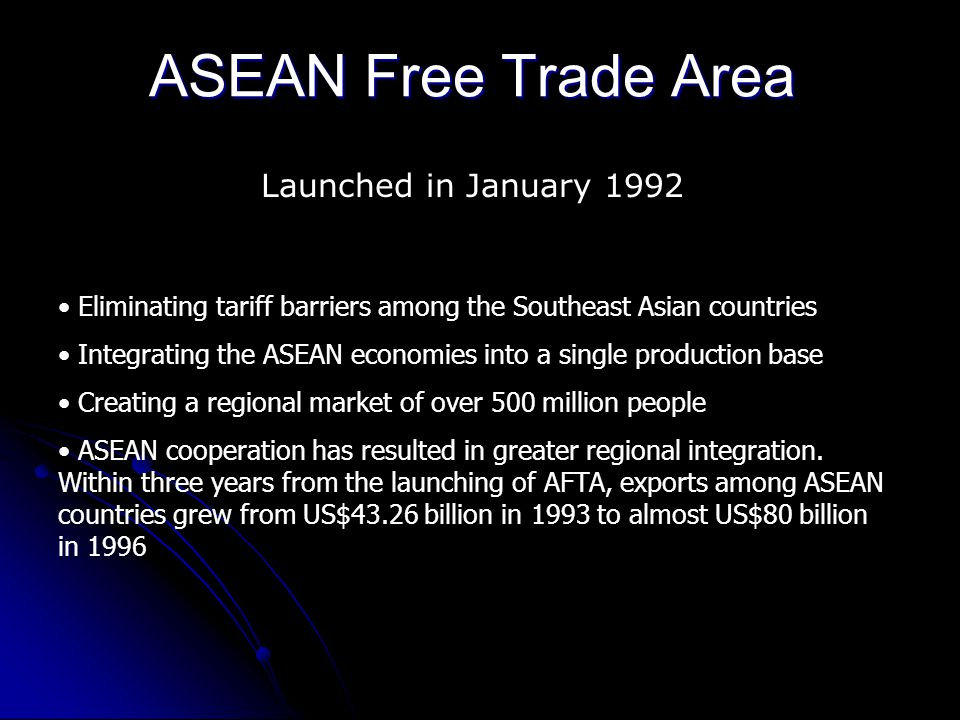 ASEAN Free Trade Area Launched in January 1992