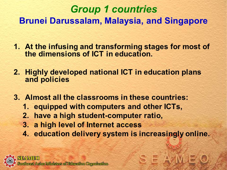 Group 1 countries Brunei Darussalam, Malaysia, and Singapore