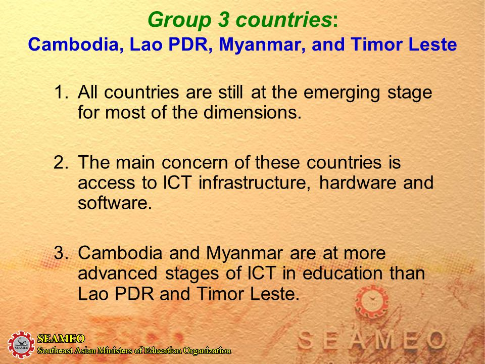 Group 3 countries: Cambodia, Lao PDR, Myanmar, and Timor Leste