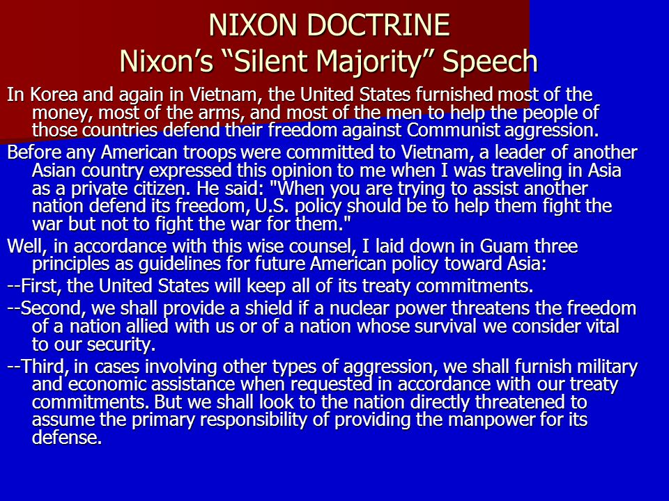 NIXON DOCTRINE Nixon's Silent Majority Speech