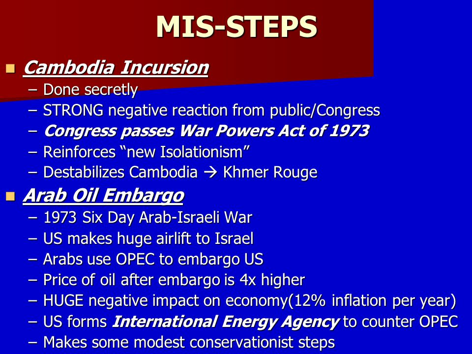 MIS-STEPS Cambodia Incursion Arab Oil Embargo Done secretly