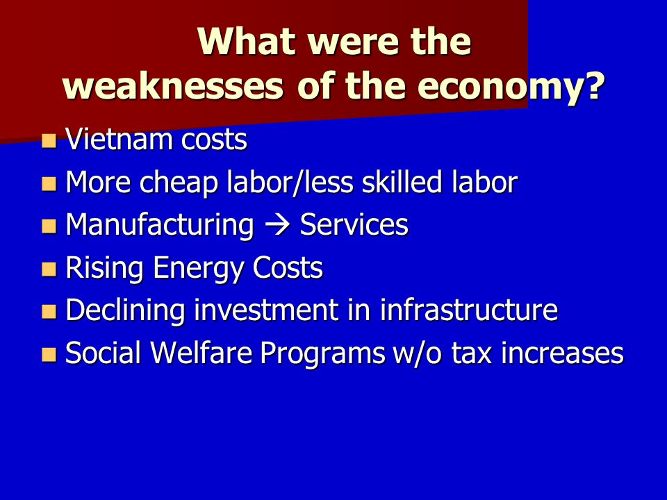 What were the weaknesses of the economy