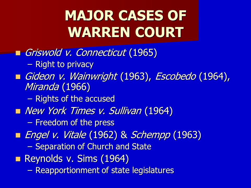 MAJOR CASES OF WARREN COURT