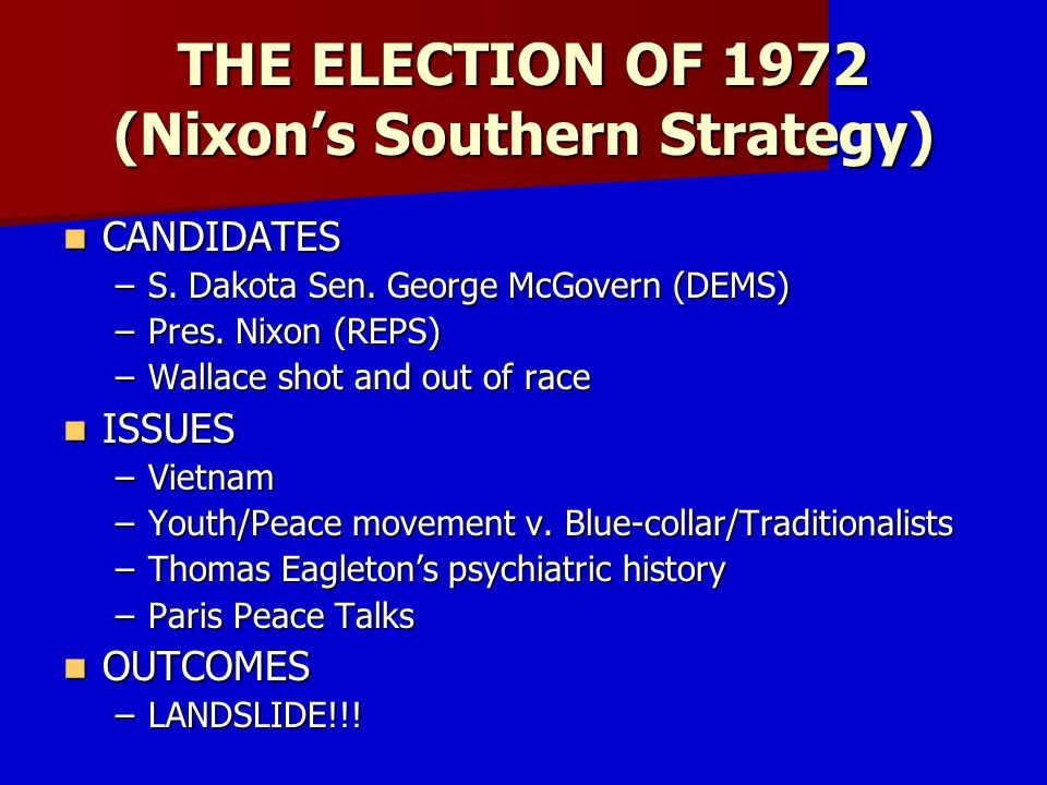 THE ELECTION OF 1972 (Nixon's Southern Strategy)