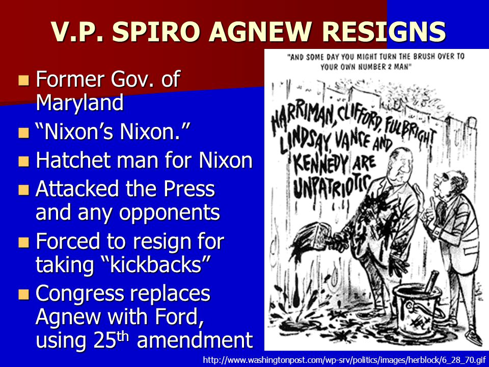 V.P. SPIRO AGNEW RESIGNS Former Gov. of Maryland Nixon's Nixon.