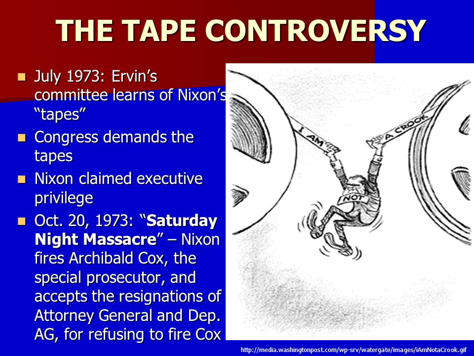 THE TAPE CONTROVERSY July 1973: Ervin's committee learns of Nixon's tapes Congress demands the tapes.
