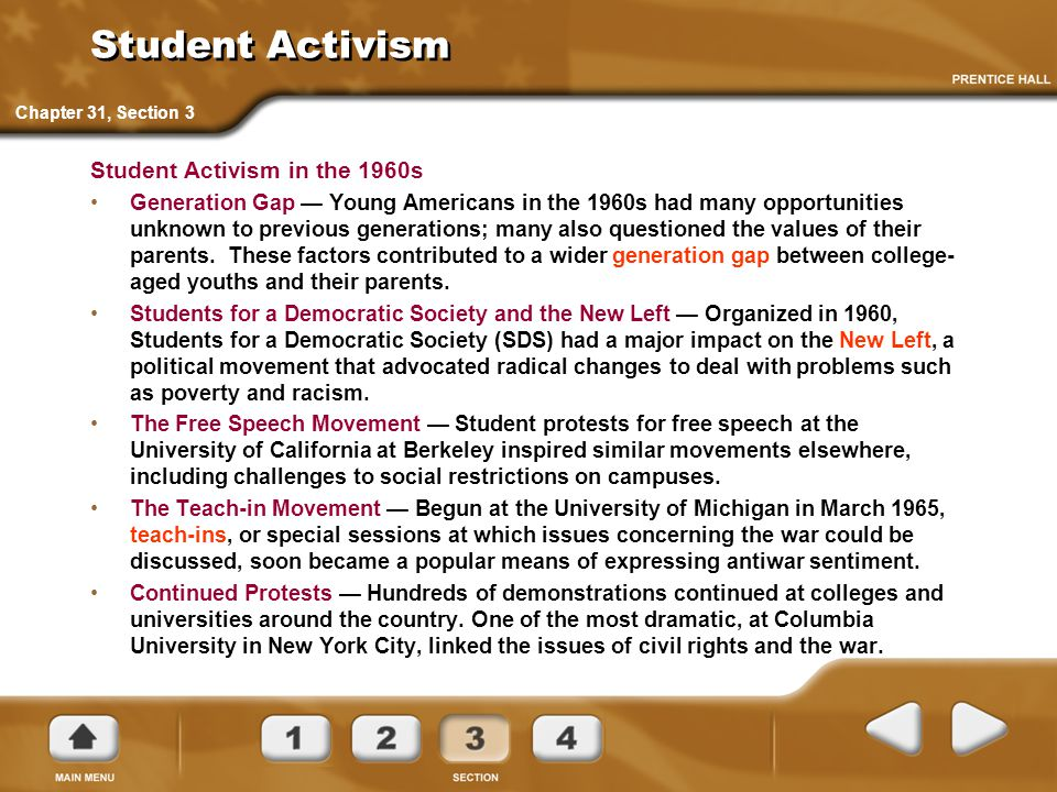 Student Activism Student Activism in the 1960s