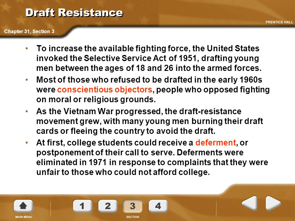 Draft Resistance Chapter 31, Section 3.