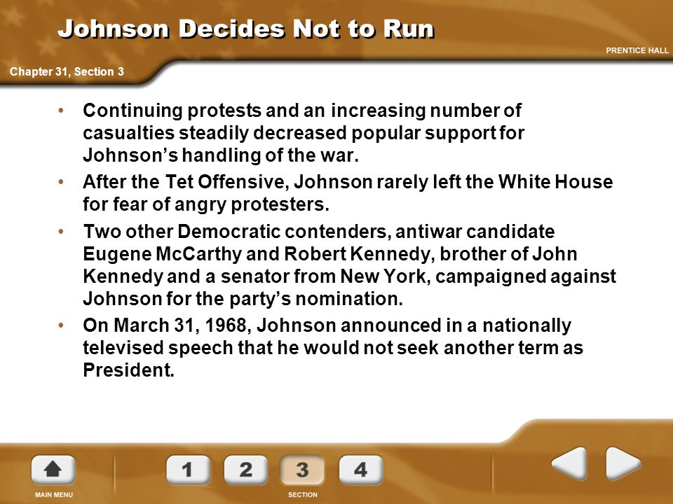 Johnson Decides Not to Run