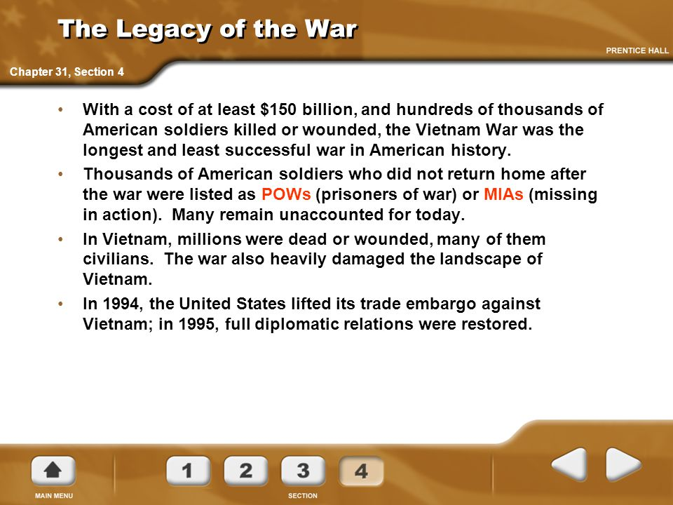The Legacy of the War Chapter 31, Section 4.