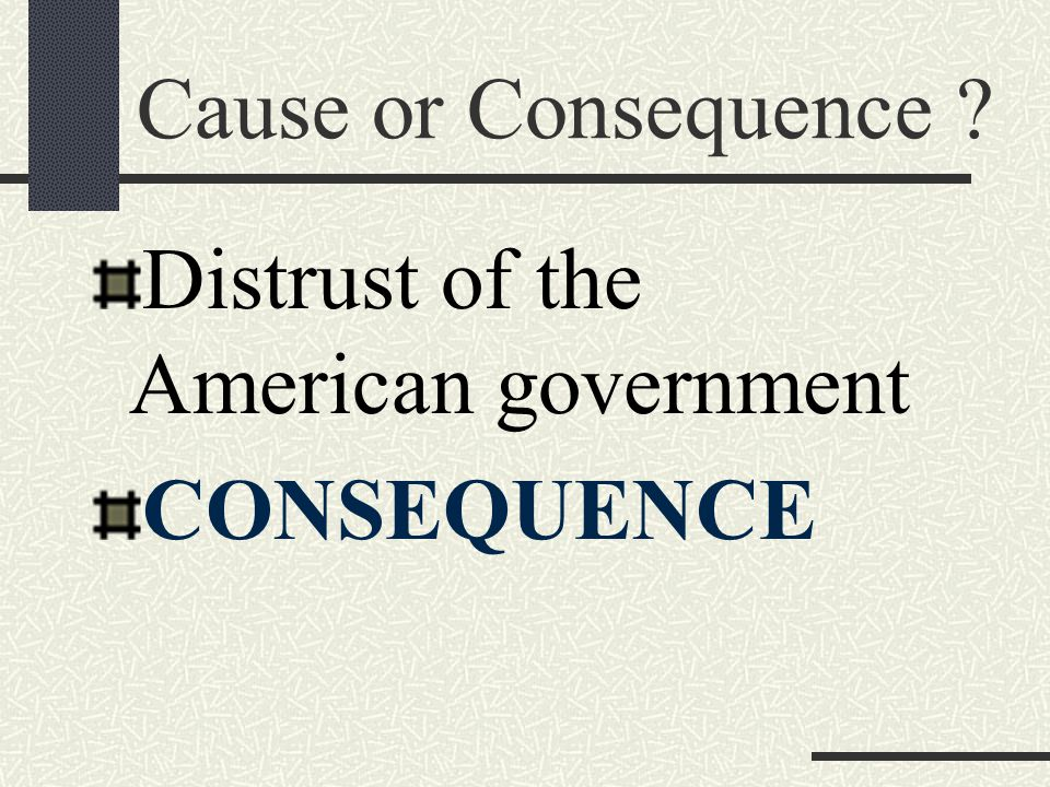 Cause or Consequence Distrust of the American government CONSEQUENCE